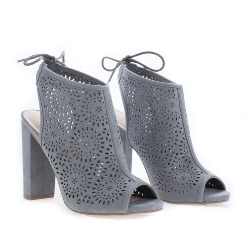 Morris25 Peep Toe Laser Perforated Heeled Mule Sandals