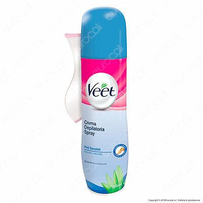 Veet Crema Depilatoria Spray per Pelli Sensibili con Aloe Vera- 150 ml