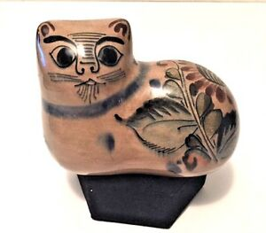 Vtg Mexican Cat Figurine. Tonala Pottery Hand Painted Signed Numbered! Grt Cond.