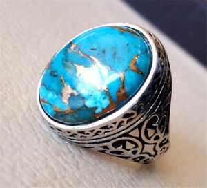 925-Silver-Copper-Blue-Turquoise-Jewelry-Wedding-Engagement-Party-Ring-Size-6-10