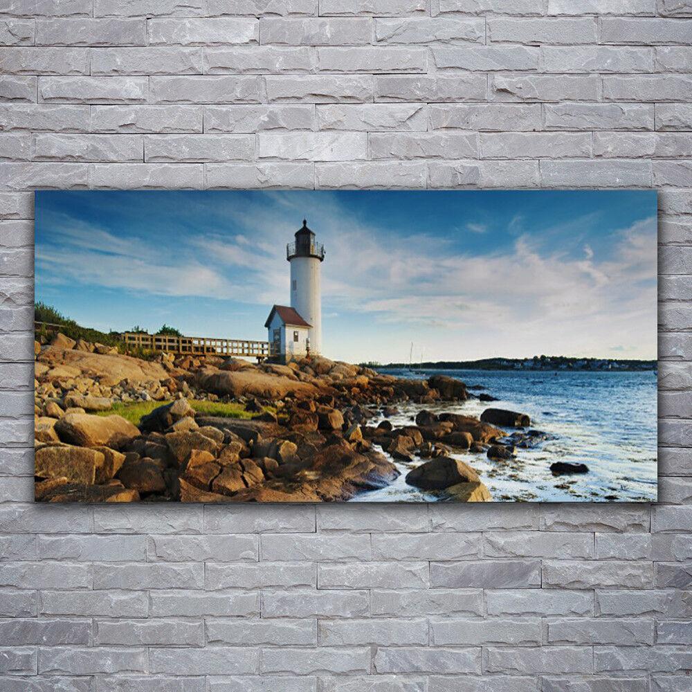 Acrylglasbilder Wandbilder Druck 120x60 Leuchtturm Steine Meer Landschaft