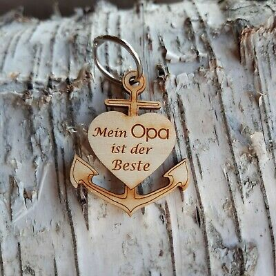 Anhänger mit Spruch Schlüsselanhänger BESTER OPA DER WELT Deko Plakette Ø 50 mm