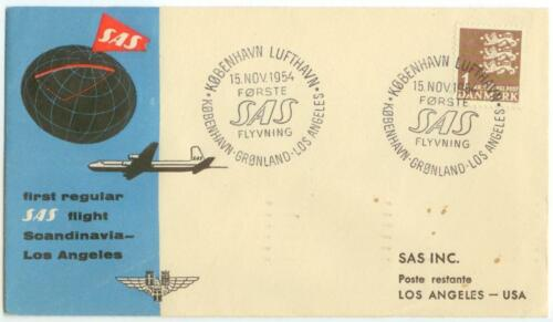 1954 Denmark SAS Airlines First Flight to Los Angeles California cover