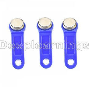 5PCS New DS1990A-F5 TM Card iButton Tag with wall-mounted holder Blue