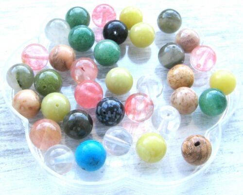 Halbedelsteinperlen Perlen Kugel 12 mm 36 Stück SERAJOSY