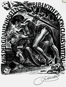 Exlibris-Frank-Ivo-van-Damme-Wittal-Cat-Bat-Vampire-Elvira-X2-Wood-Engraving-337