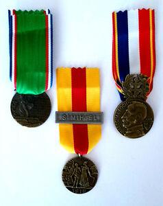 LOT-de-3-Medailles-Lafayette-Verdun-Metz-1920-St-Mihiel-1918-Delande-REPRO
