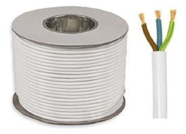3 Core Round Black Flex Flexible Cable 3183Y 1.0 mm 15 metre Cut Length