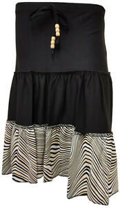 NEW-LADIES-LAYERED-STRIPE-PRINT-BEADED-TIE-KNEE-LENGTH-SKIRT-S-M-M-L-amp-XL