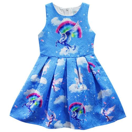 2018 Summer Beautiful Girls Unicorn Rainbow Sleeveless Blue Costume Dress O05