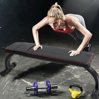 Fitness Bench Adjustable Weight//Sit Up Exercise Workout Flat Bench with Foldable Legs for Dumbell Weight Lifting Exercise Home Gym Fitness