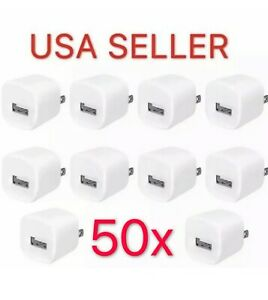 50x White 1A USB AC Home Power Adapter Wall Charger US Plug FOR iPhone 5 6S 7 8