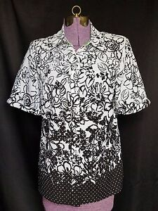 Allison Daley Black White Floral Short Sleeve Button Front Blouse