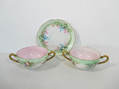 Vtg Teacup Saucer Hutschenreuther JHR Alice Double Handle Seashell Set of 3