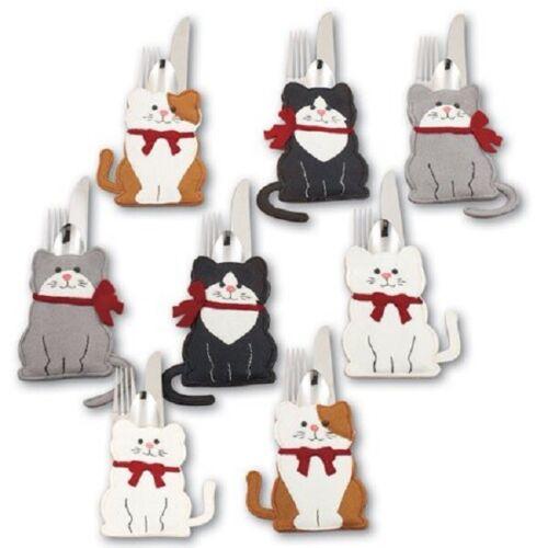 "Felt Cat Silverware Holder 8 Piece Set  6/"" x 3/"" New"