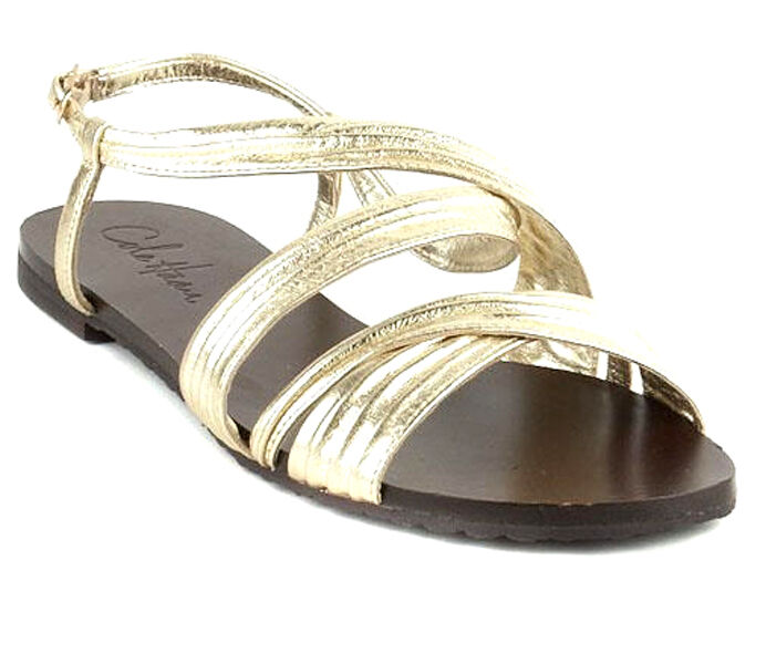 NEW Cole Haan 'Cara' Metallic Soft Gold Ankle Strap Sandaleen WOMEN'S SZ 6