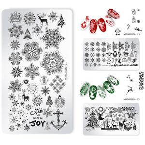 Christmas-Xmas-Nail-Art-Stamping-Plates-Santa-Snowflake-Templates-Stencils