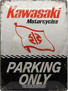 Kawasaki-Motocicletas-Parking-Only-con-Relieve-Acero-Signo-400mm-X-300mm-Na