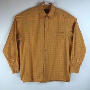 Ermenegildo-Zegna-Mens-Button-Front-Shirt-Orange-Plaid-Long-Sleeve-Pocket-L