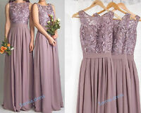 Long Lace Chiffon Bridesmaid Formal Party Cocktail Gown Party Evening Prom Dress