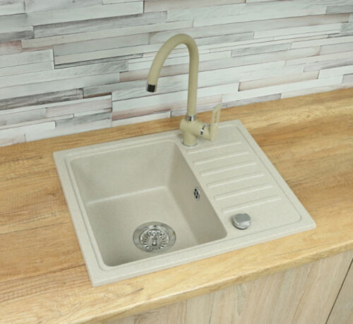 Spüle Spülbecken GRANIT Küche Einbauspüle 56x46 Schwarz Beige Armatur U NE70