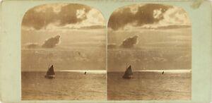 STEREO-Photo-Artistique-Mer-Voilier-Ciel-et-Nuages-Photo-Stereo-Albumine-ca-1860