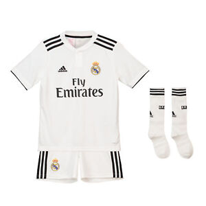 Audacieux Officiel Real Madrid Home Kids Kit 2018 19 Shirt Short Jersey Adidas Football-afficher Le Titre D'origine