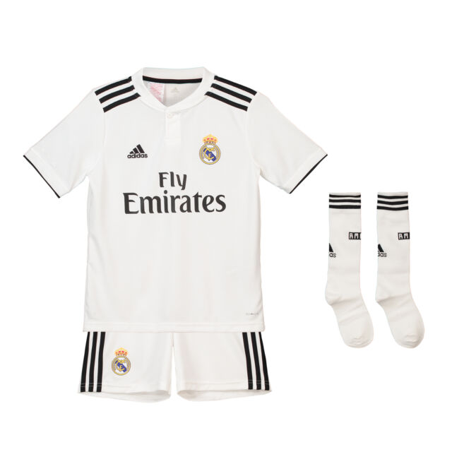 new product c2882 fb0ad Official Real Madrid Home Kids Kit 2018 19 Shirt Shorts Jersey adidas  Football