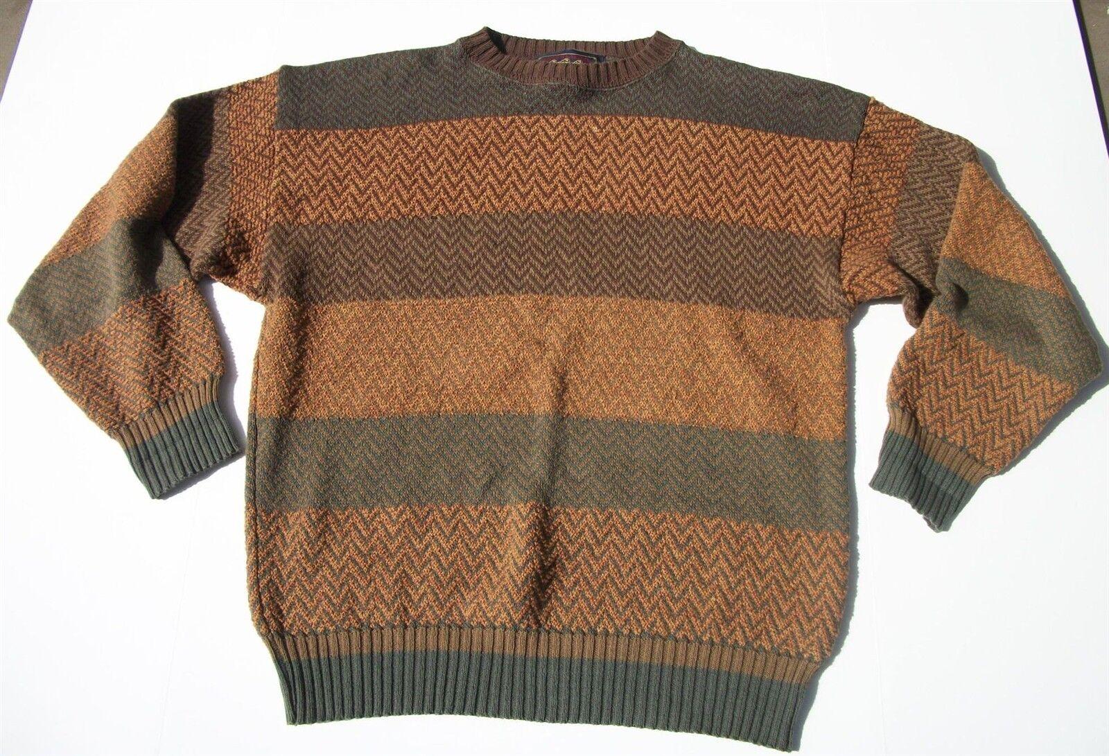 Vintage Chaps Ralph Lauren SCOUT Label Sweater Autumn colors Green Brown gold L
