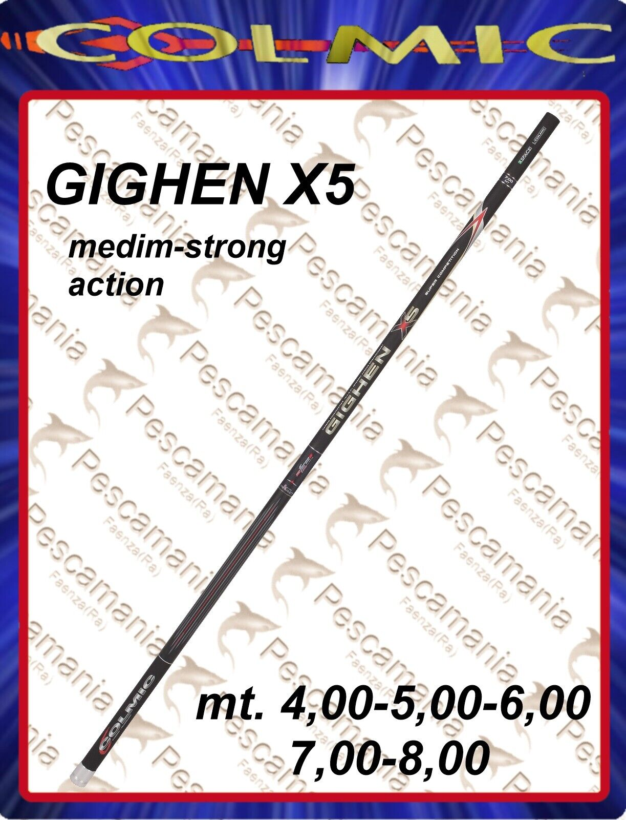 Colmic rod GIGHEN X5 fixed m4.00-5,00-6,00-7,00-8,00 telescopic
