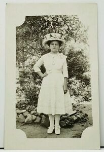 RPPC-Young-Girl-Pretty-Dress-Floral-Hat-Garden-Photo-c1910-Postcard-H14