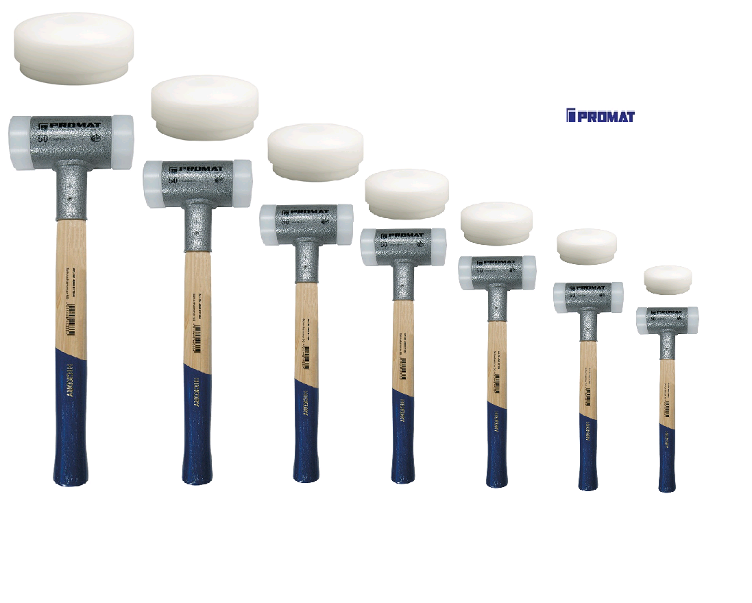 PROMAT Schonhammer rückschlagfrei Nylon weiß auswechselbare Schlagköpfe