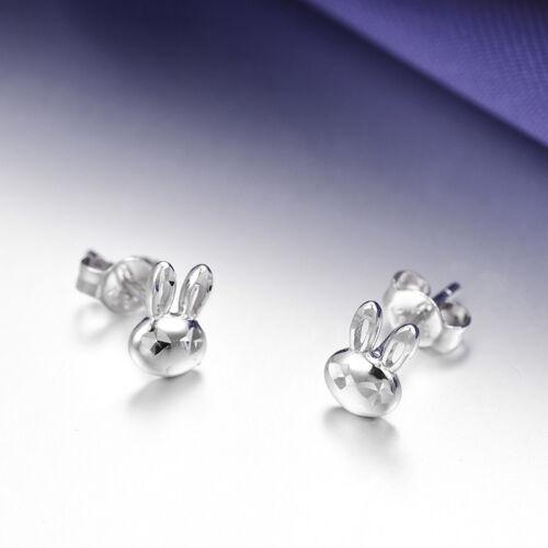 New Pure Platinum 950 Stud Earrings Lovely 10x3mm Rabbit Stud Pt950