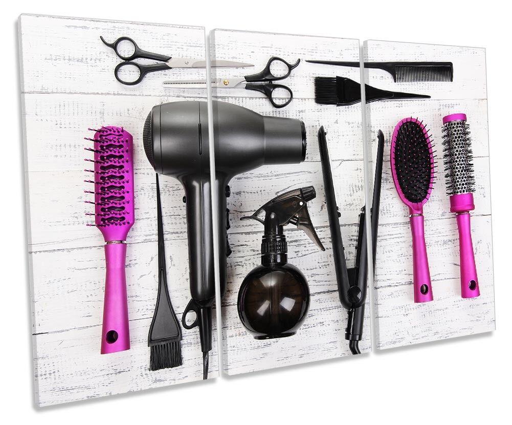 Hairdresser Salon Hair Cut Framed TREBLE CANVAS PRINT Wall Art