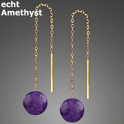 585 ECHT GOLD *** 1 Paar Edelstein Durchzieher Ohrringe 65 mm