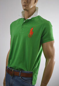 Ralph Lauren Small S Orange Green Big Pony Mesh POLO Rugby NWT