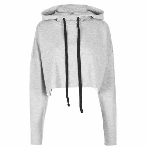 Reebok Womens Crop Hoodie Lined Hoody Hooded Top Long Sleeve Regular Fit