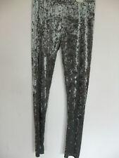 crushed velvet silver grey leggings sz 16  nwt