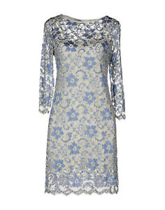 Womens-Ladies-Lace-dress-Blue-White-John-Zack