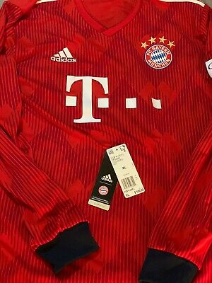 New Adidas Fc Bayern Munich Football Long Sleeve Jersey Shirt 2018 2019 Ebay