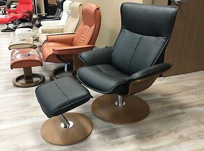 New Fjords Spirit Leather Swivel Recliner Chair Norwegian Scandinavian Lounger | eBay