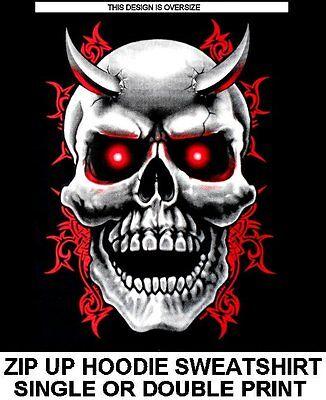 EVIL RED EYED DEMONIC ANGRY DEMON SKULL HORNS TRIBAL ZIP HOODIE SWEATSHIRT X98
