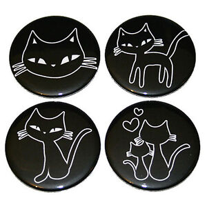 Cute-Cats-FRIDGE-MAGNETS-Set-4pc-black-and-white-drawing-cat-kitten-magnet