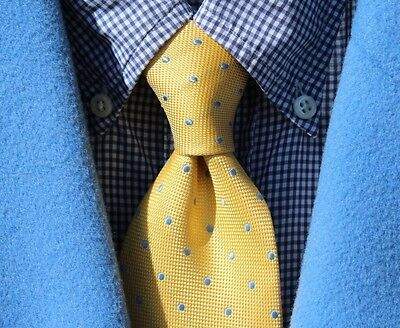 Tommy Hilfiger Gentleman's Yellow / Gold & Light Blue Dotted Silk Necktie - USA!