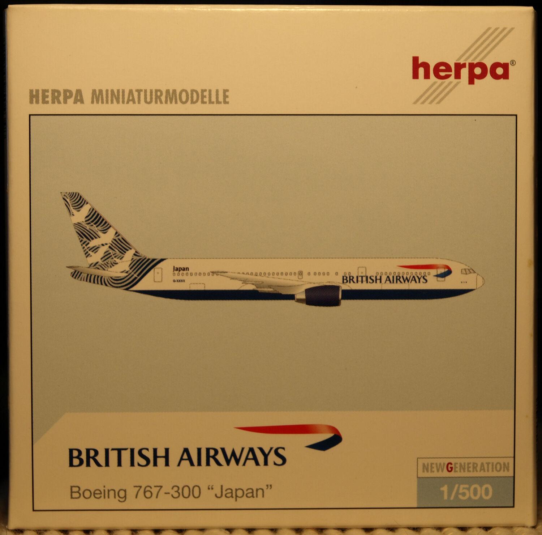Herpa Wings 1 500 British Airways Boeing 767-300 767-300 767-300 Japan prod id 504348 relsd 2002 de0c8a