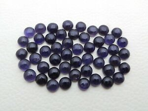 35 Pieces Natural Iolite Calibrated Size 7 mm Round Cabochon Wholesale Lot S296