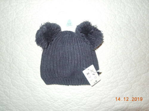 NEW Baby Boys Girl 0 3 6 9 12 18 24 Months Navy Pom Pom Double Bobble Winter Hat