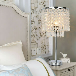Romantic Nightstand Crystal Shade Table Lamp Elegant Bedside Decor