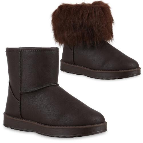 Warm Gefütterte Kunstfell Damen Boots Winter Stiefeletten 72917 Trendy Neu