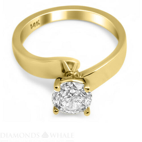 Solitaire 0.3 CT Enhanced Diamond Ring Yellow gold 14K SI1 E Round Cut Bridal